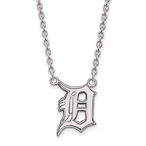(MLB Detroit Tigers Sterling Silver MLB LogoArt Detroit Tigers Large Pendant with Necklace Size One Size)