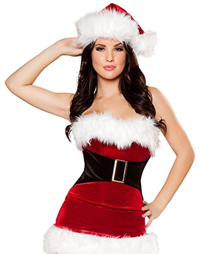 YeeATZ Christmas Xmas Miss Santa's Sweetie Costume (Wild Zebra Adult Womens Costume)