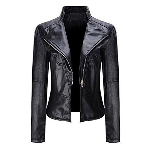 Leather Clothing For Women - Mose New Women Coat Women Winter Warm Leather Jacket Short Tops Parka Zipper Outwear (Black, XXXL)