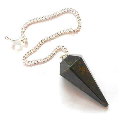 earthegy Bloodstone Faceted Gemstone Pendulum for Divination and Dowsing (Pendulum Bloodstone)