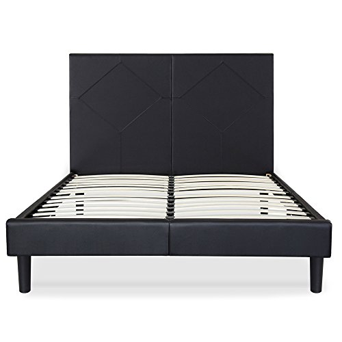 Olee Sleep 14 Inch Faux Leather Wood Slate Folding Platform R Diamond / Non-Slip Support Bed Frame...