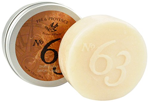 No. 63 Men's 150 Shave Soap with Tin, Aromatic, Warm, Spicy Masculine Fragrance, Quad-Milled For Long Lasting Soap & Enriched With Shea Butter