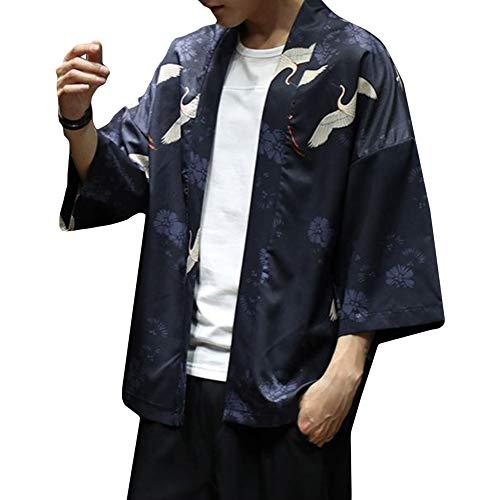 FTIMILD 가디건 맨즈 일본식 파커 셔츠 칠부 소매 얇은 편안한 호텔 가디건 블랙/화이트/라이트블루  M/L/LL/3L/4L/5L