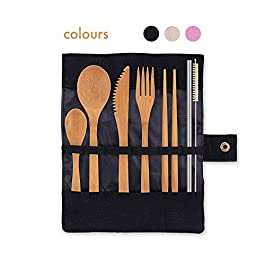 Eco-Friendly Reusable Bamboo Cutlery Set | Ideal for Travel, Eating Out, Camping | Knife, Fork, Spoon, Teaspoon, Chopsticks, Metal Straw and Organic Cleaning Brush, all in a Fabric Pouch | Zero Waste | 8 Inch (20 cm) full size utensils