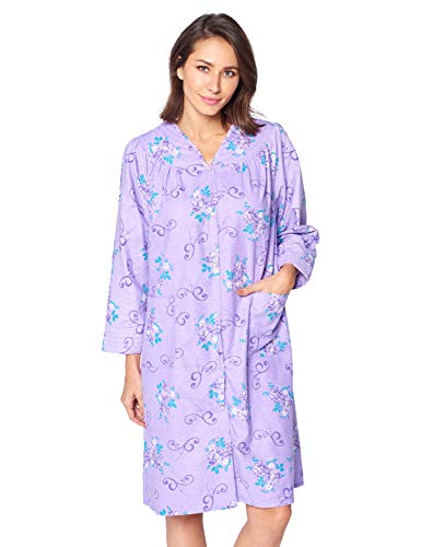 Casual Nights Women's Floral Snap Front Flannel Duster Long Sleeve Lounger Dress - Purple Violet - XX-Large