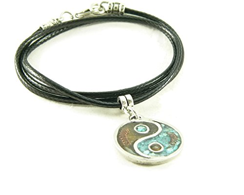 LKS Originals Orgone Energy Yin Yang Pendant Necklace in Turquoise and Carnelian with Vegan (Faux) Leather Cord (20 Inches)