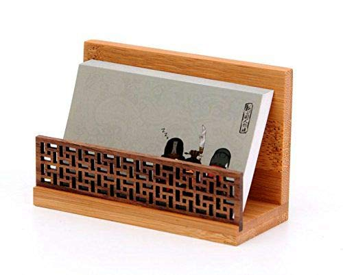 NIPOLE Business Card Display Holder Stationery Case Bamboo Wood Handiwork Desktop Type Holder Stand