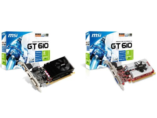 MSI NVIDIA N610GT-MD1GD3/LP GeForce GT 610, 1GB DDR3, Low-Profile Design, PCI Express 2.0 Graphics Card