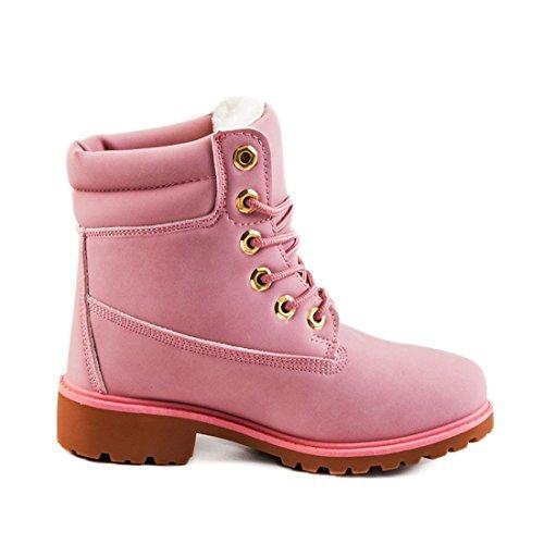 Trendige Damen Schnür Stiefeletten Stiefel Worker Boots Pink 37