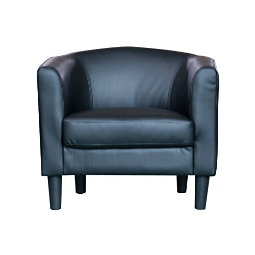 Barrel-Style Accent Chair-Black by Carabelle