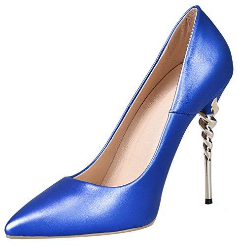Calaier Damen Jtabw 12CM Stiletto Schlüpfen Pumps Schuhe Blau