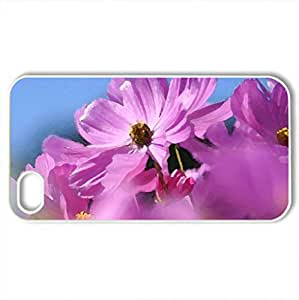 bloomy cosmos - Case Cover for iPhone 4 and 4s (Flowers Series, Watercolor style, White)