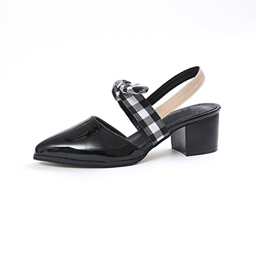 sdk5SIUADT Fashion High Heels Summer Sandals Shoes Woman Lattice Pumps Bowtie Women Shoes WXG415 black 8.5