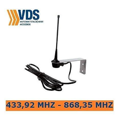 Antena receptora estandar sintonizada 433Mhz-868Mhz para mejorar alcance de señal de mandos de garaje compatible con cualquier receptor o central de ...