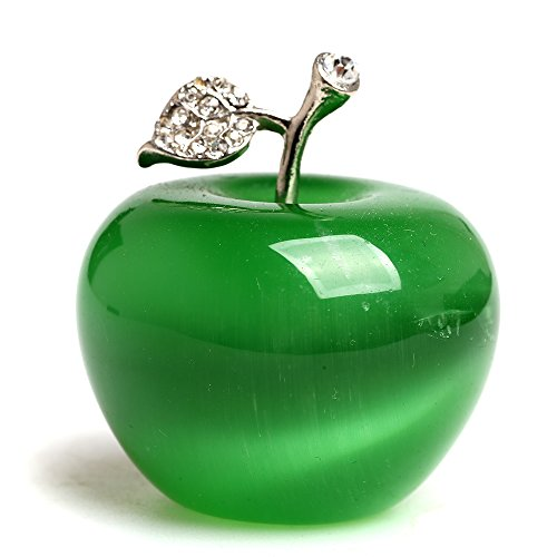 ruhong 1.18 Inches Cut Natural Quartz Crystal Green Cat Eye Apple Carved Figurine Statue Alloy Leaf Healing Stone Home Holiday Wedding Decoration (Green cat Eye)
