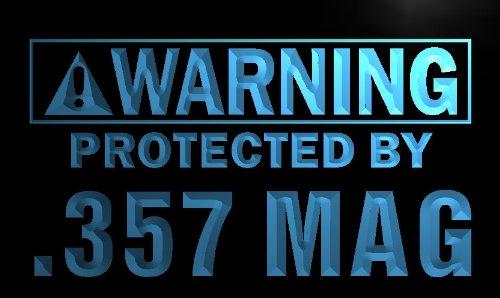 ADV PRO n058-b Warning Protected by .357 Mag Gun Neon Sign
