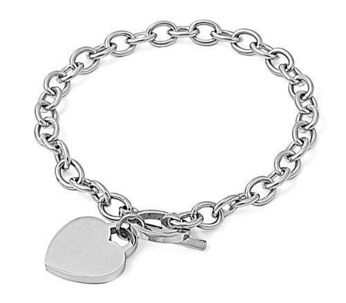 (Designer Inspired HEART CHARM Stainless Steel Link Chain Bracelet Toggle Lock 6-8 inches (7.5 Inches))