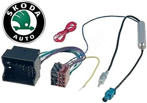 Sound-Way Cable Adaptador Conector ISO de Audio y Adaptador de Antena Amplificado Fakra compatibles con FABIA, ROOMSTER, OCTAVIA, YETI.