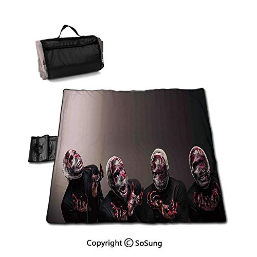 Wizard Picnic Blanket with Tote,Bloody Faces with Bandage of Screaming Zombie Looks Scary Spooky Dark Art Pattern Foldable & Waterproof Camping Mat for Outdoor Beach Hiking Grass Travel,Black