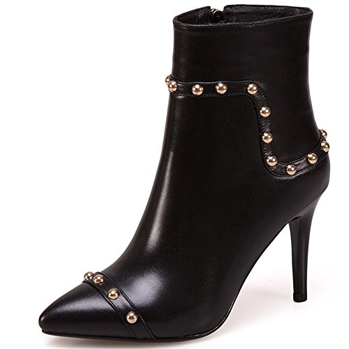 Genuine Leather Women's Pointy Toe Sexy Stiletto Heel Zip Handmade Buckles Ankle Boots