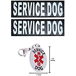 Doggie Stylz Service Dog Reflective Patch and ID Dog Tag Set. Comes with 2 Reflective Hook & Loop Patches and Official Service Animal Stainless Steel Laser Engraved ID Tag