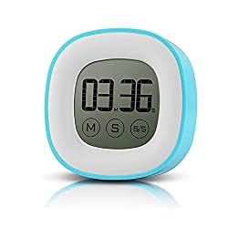 CestMall Touch Screen Mini LED Digital Timer Alarm Clock, Magnet Electronic Count Up Countdown Timer for Kitchen Cooking Study (Batteries NOT included) (Blue)