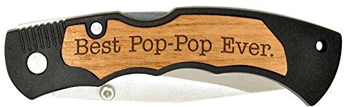 Grandpa to Be Gift for Grandpa Best Pop-Pop Ever Laser Engraved Stainless Steel Folding Pocket Knife