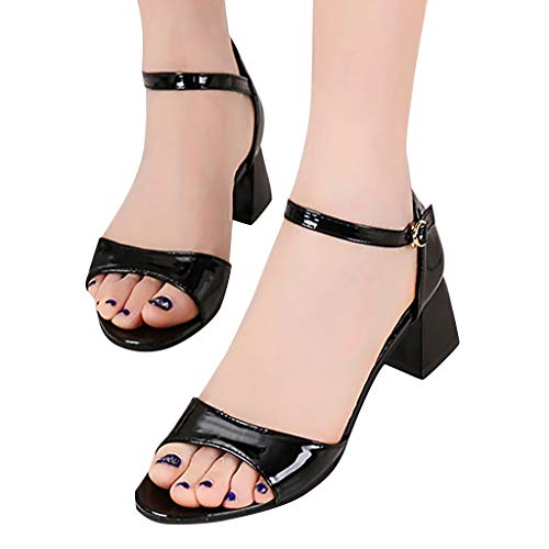 - Sunhusing Women's Trendy Square Heel with Belt Buckle Color Matching Open Toe Fish Mouth Casual Sandals Black