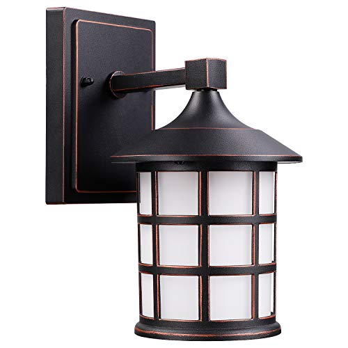 LEONLITE 9W LED Outdoor Wall Light, Vintage Style Black Metal Cage, Frosted Glass, 3000K Warm White, 500 Lumens, ETL Listed, Outdoor Wall Lantern for Front Doors, Porches