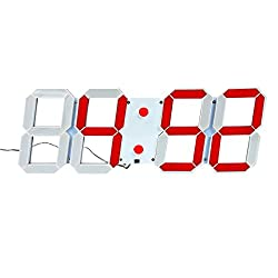 Mochiglory Jumbo Digital LED Wall Clock Multi Functional Countdown Timer with Remote Control Temperature Date for Office/Home/Airport/Gymnasium (Red Digital on White Shell)