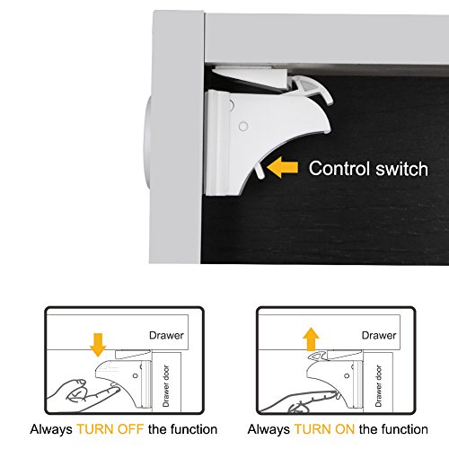 Linkax Baby Magnetic Locks Safety Cabinet Locks Child Magnet Drawer & Door Locks Set for Home Safety No Drilling (10 Locks + 2 Keys) by Linkax (Image #5)