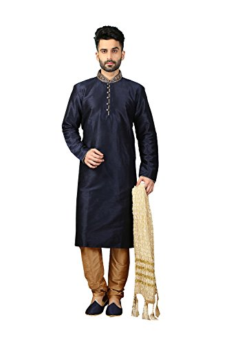daindiashop-USA Indian Men Kurta Pajama Traditonal Designer Royal Wedding Party Dress In Navy Blue Dupion Art Silk by daindiashop-USA