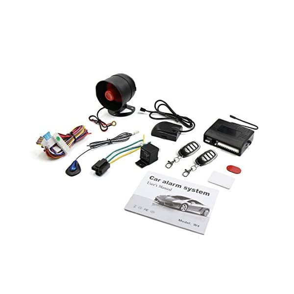 X AUTOHAUX Car Keyless Entry Security Alarm System 1 Way Vehicle Anti Theft Siren W 2 Remote 12V