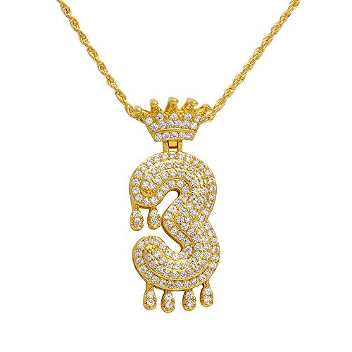 - Gbell  Luxury Zircon Drops Crown Alpha Pendant Necklace Men and Women Emperor Royal Crown King Queens Pendant Necklace Creative Gift Jewelry for Mother Women Lady