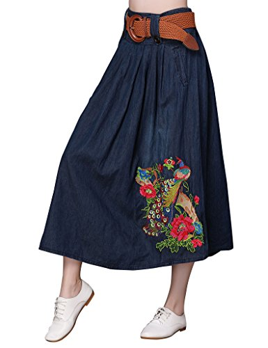 (IDEALSANXUN Women's Long Embroidered A-Line Retro High Waist Maxi Denim Skirt With Belt (Denim Blue, Medium))
