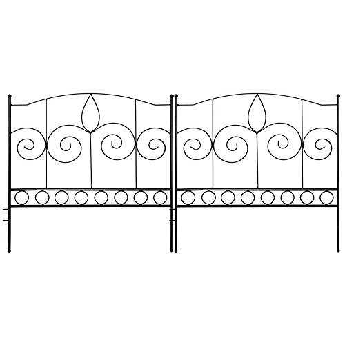 Gray Bunny GB-6882 Landscaping Garden Fence, Set of 5 Black Panels, 24 x 24 in Per Panel, Rust Proof Cast Iron Metal Movable Wire Border Picket Edging Folding Decor Fences for Flower Bed/Pet Barrier