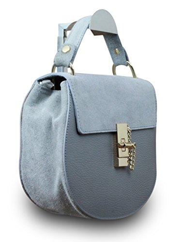Fabriqué en Italie Luxe Femme Sac à main Clutch Party Boston Sac en cuir véritable gris