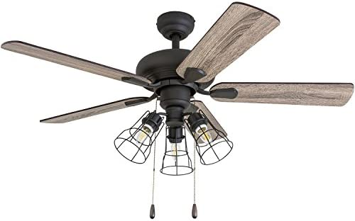 Prominence Home 50588-01 Madison County Industrial Ceiling Fan, 42 , Barnwood Tumbleweed, Aged Bronze