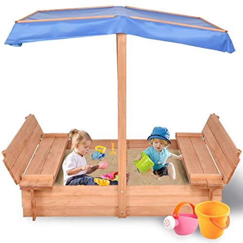 (Costzon Kids Foldable Cabana Sandbox with 2 Convertible Benches & 1 Piece Black Non-Woven Fabric Cloth (55-Inch with Canopy))