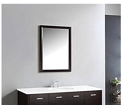 Seven Horses Black Color Fiber Wood Wall Mirror for Dressing Mirror,Bedroom Mirror,Bathroom Mirror,Makeup Mirror/Solid Black Colour Water Resistant Synthetic Fiber Wood Made (14x20Inch)