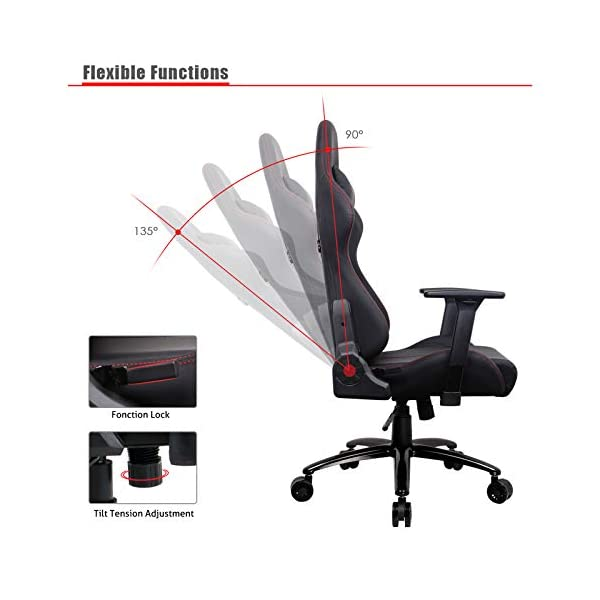 Chaise Gaming, Racing Chaise de Bureau Ergonomique Chaise Gamer Noir Dossier Haut Grand Assis Rembourré Accoudoirs…