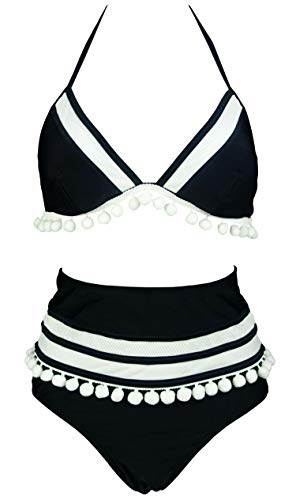 (COCOSHIP Black & White Mesh Striped High Waist Bikini Set Pom Pom Tassel Trim Top Halter Straps Swimsuit Pool Cruise Suit 12 )