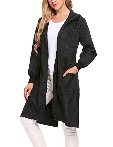 Black Jacket Travel (Zeagoo Women's Raincoat Durable Unisex Men Women Rain Poncho with Hat Hood for Outdoor Travel,Black,Large)