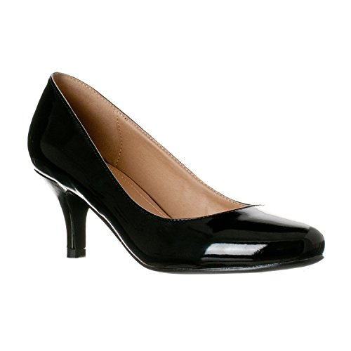Riverberry Women's Ruby Round Toe, Kitten Low Height Pump Heels, Black Patent, 6 by Riverberry