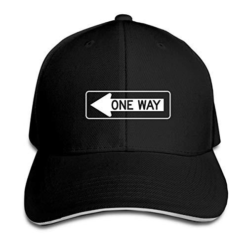 One Way Funny Traffic Sign Baseball Hat Adjustable Side Unisex Black
