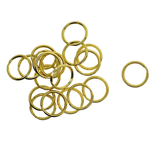 Prettyia 20Pcs Solid Brass Round Edged Keyring Keychain Split Ring Keys Chain Holder Jewelry Clasps Hooks Bags Charms Clasp DIY Handmade Crafts 20mm/0.79 inch ()