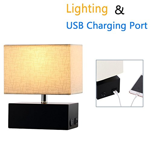 (Wooden Table Lamp, 5V/2A USB Charging Port, On-Off Rocker Switch, Black Rectangle Wooden Base, Cream Fabric Shade)