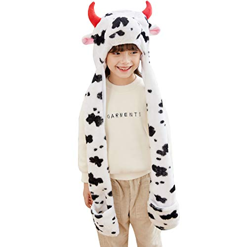 PULAMA Varied Animal Hats Gloves Scarf 3 In 1 Set -Costume Hood Toy (Milk Cow)]()