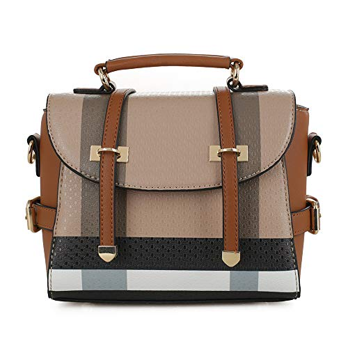 SG SUGU Small Plaid Lightweight Crossbody Bag Fashion Backpack Top Handle Purse | Brown/Brown ()