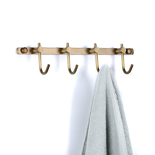 WINCASE Wall Mounted Antique Brass Brushed Bronze Row Hooks with 4 Heavy Duty Hooks European Classical Series All Copper Antique Rustic Small Row of Hooks Coats Hooks Towel Rack Holders Hook Rack ()